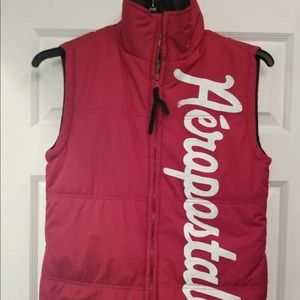 AEROPOSTALE Womens Red PUFFER VEST Full Zip  XS